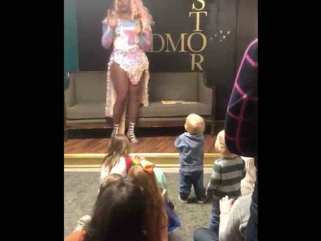 Children as young as 9 months old and their parents watch drag queen lead room in song: 'Show things that kids haven't seen before'