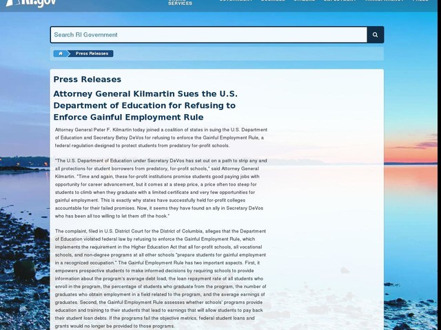 Attorney General Kilmartin Sues the U.S. Department of Education for Refusing to Enforce Gainful Employment Rule