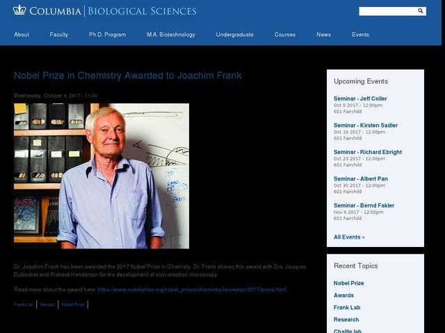 Nobel Prize in Chemistry Awarded to Joachim Frank