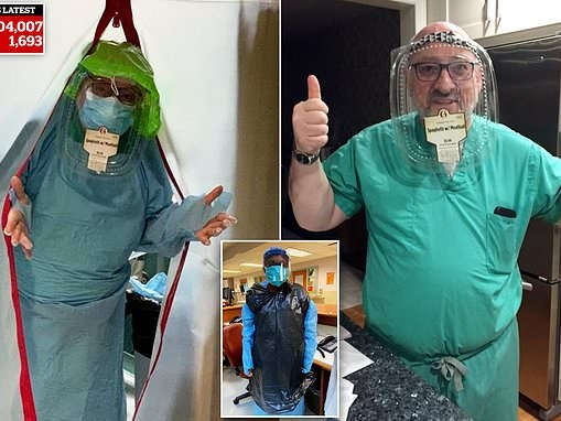 New York neurologist forced to use a take out container stapled to a shower cap as a face mask
