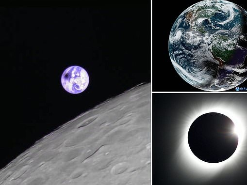 The solar eclipse as seen from the MOON: Microsatellite snaps stunning photo of a shadow over Earth
