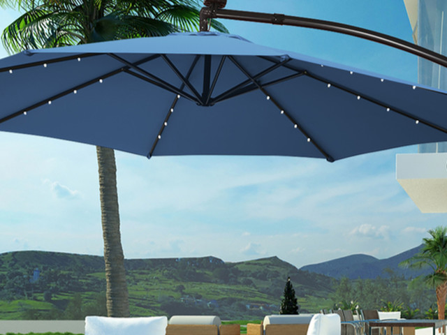 Save over 35% on a solar-powered patio umbrella with LED lights