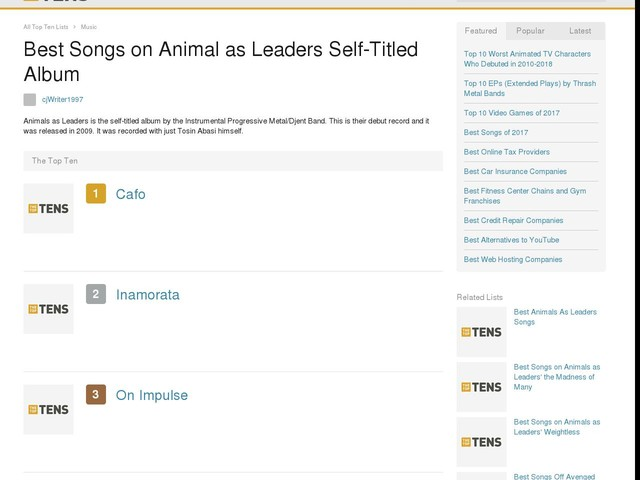 Best Songs on Animal as Leaders Self-Titled Album