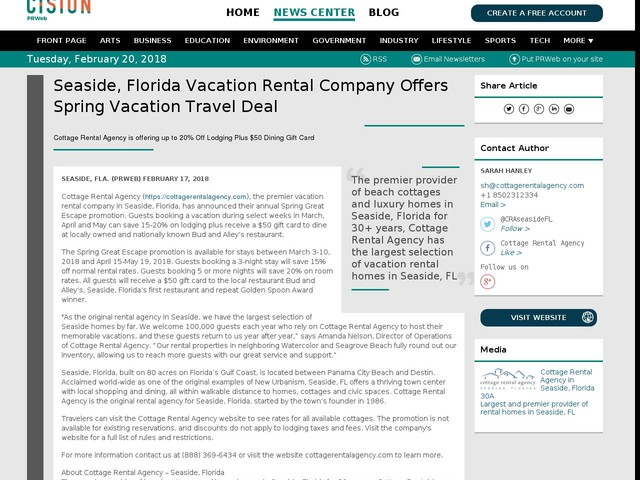 Seaside, Florida Vacation Rental Company Offers Spring Vacation Travel...