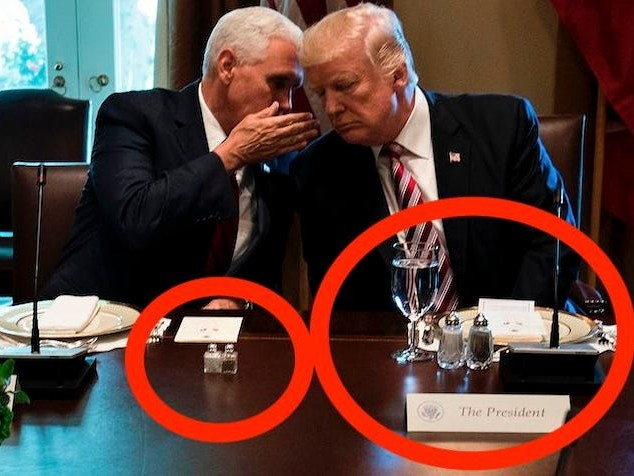 Trump's salt and pepper shakers tower over everyone else's. Obama, Bush, and Clinton used the same size shakers as their guests.