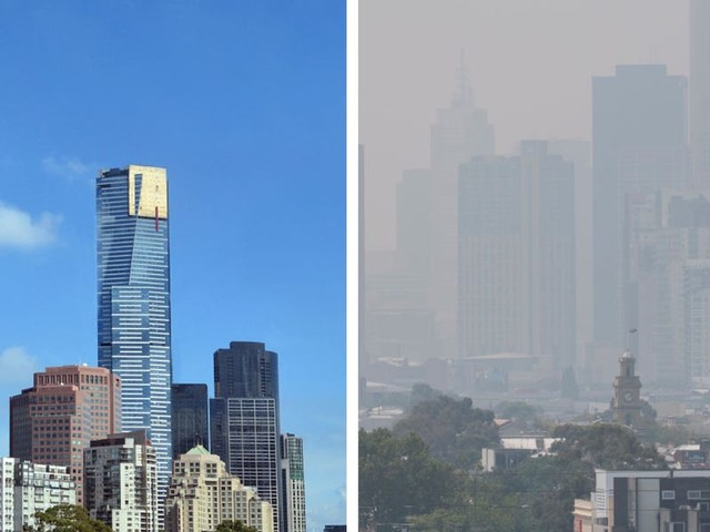 Before-and-after photos show what Melbourne looked like before its skyline clouded in a smoky haze due to bushfires