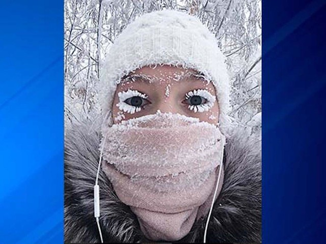 Eyelashes freeze as Russia sees minus 88.6 degrees F