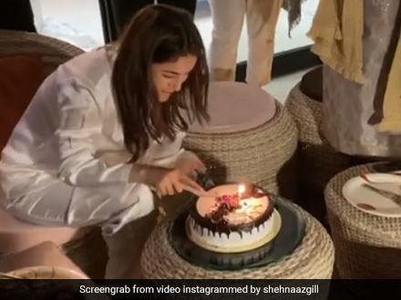 Shehnaaz Gill Celebrates Birthday With Sidharth Shukla And A Yummy Cake!