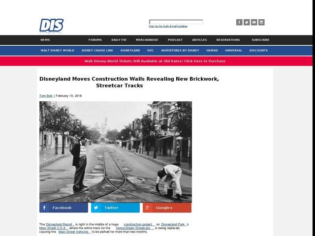 Disneyland Moves Construction Walls Revealing New Brickwork, Streetcar Tracks