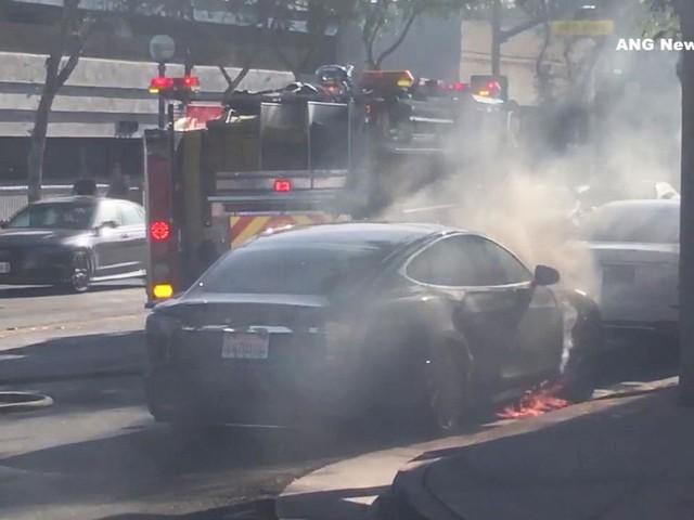 Tesla bursts into flames on West Hollywood street