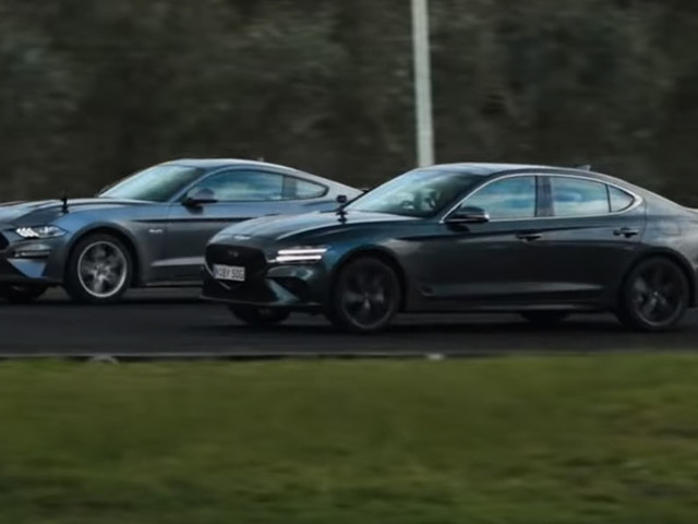 A Genesis G70 And A Ford Mustang Are Very Well-Matched In A Straight-Line