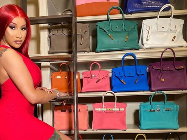 Cardi B matches her hair to her $79K blue Hermès Birkin bag