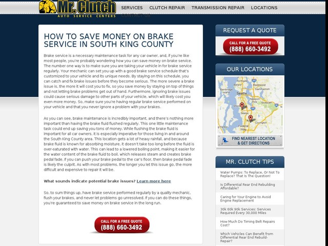 How to Save Money on Brake Service in South King County