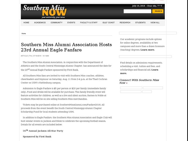 Southern Miss Alumni Association Hosts 23rd Annual Eagle Fanfare