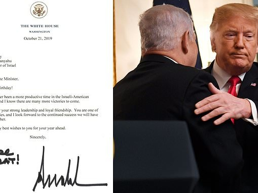 Trump sends Israeli PM Benjamin Netanyahu a 70th birthday letter writing 'you are great!'