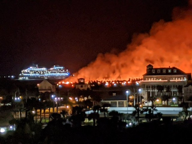 Firefighters battle large grass fire on Galveston Island's East Beach
