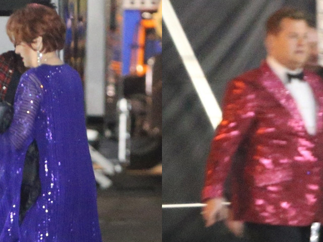 James Corden & Meryl Streep Wear Flashy Outfits for 'The Prom' Scene!