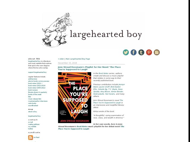 """Jenn Stroud Rossmann's Playlist for Her Novel """"The Place You're Supposed to Laugh"""""""
