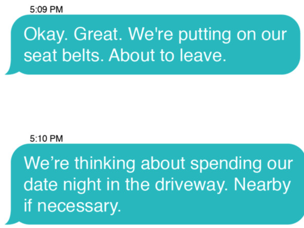 The Truth About Date Night, as Told in 26 Not-at-All-Frantic Texts to the Babysitter