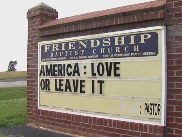 'America: Love It or Leave It': Pastor says he'll keep church sign up amid President Trump's 'go back' remarks to leftist congresswomen