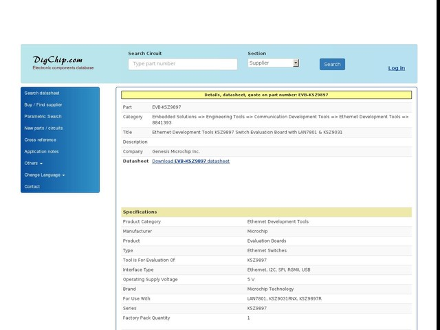 EVB-KSZ9897: Ethernet Development Tools KSZ9897 Switch Evaluation Board with LAN7801 KSZ9031