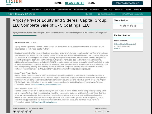 Argosy Private Equity and Sidereal Capital Group, LLC Complete Sale of...