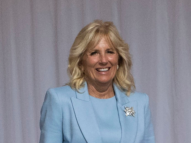 Jill Biden Is Dainty in a Calming Blue Suit & Her Go-To Pumps for a Visit at Windsor Castle With Queen Elizabeth