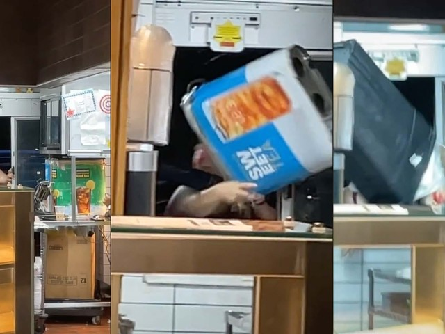 'Why literally no one wants to work in the food industry anymore': Karen throws iced tea dispenser at McDonald's workers in drive-thru