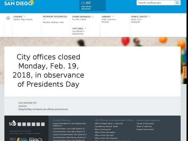 City offices closed Monday, Feb. 19, 2018, in observance of Presidents Day