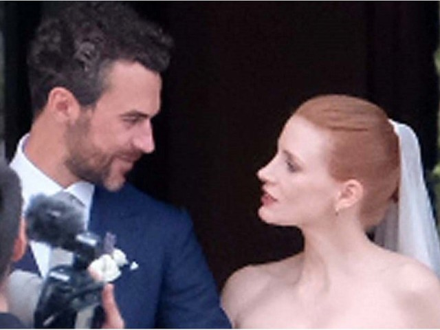 Jessica Chastain and Her Husband Share a Loving Glance During Their Italian Wedding