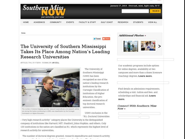 The University of Southern Mississippi Takes Its Place Among Nation's Leading Research Universities