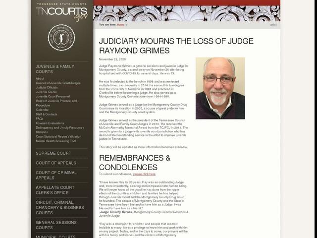 Judiciary Mourns The Loss of Judge Raymond Grimes