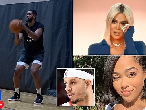 Tristan Thompson and Seth Curry shoot hoops in a Los Angeles gym before KUWTK episode
