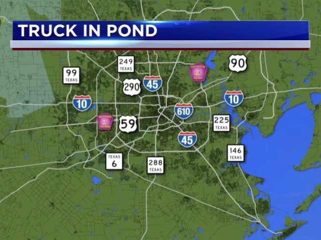 Officials respond after vehicle crashes through fence, lands in pond