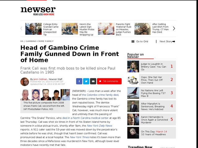 Head of Gambino Crime Family Gunned Down in Front of Home