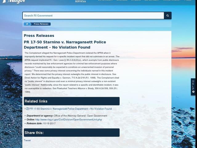PR 17-50 Starnino v. Narragansett Police Department – No Violation Found