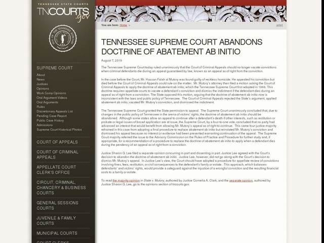 Tennessee Supreme Court Abandons Doctrine of Abatement Ab Initio