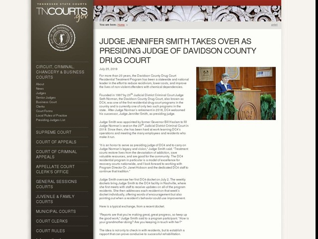 Judge Jennifer Smith Takes Over As Presiding Judge Of Davidson County Drug Court