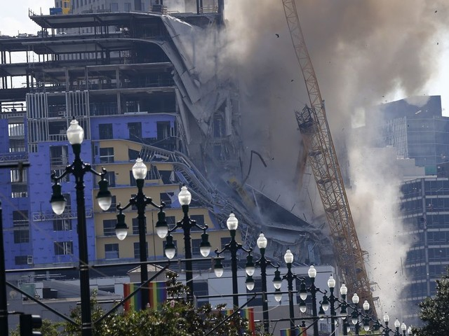 New Orleans Hard Rock Hotel demolition fails to topple crane