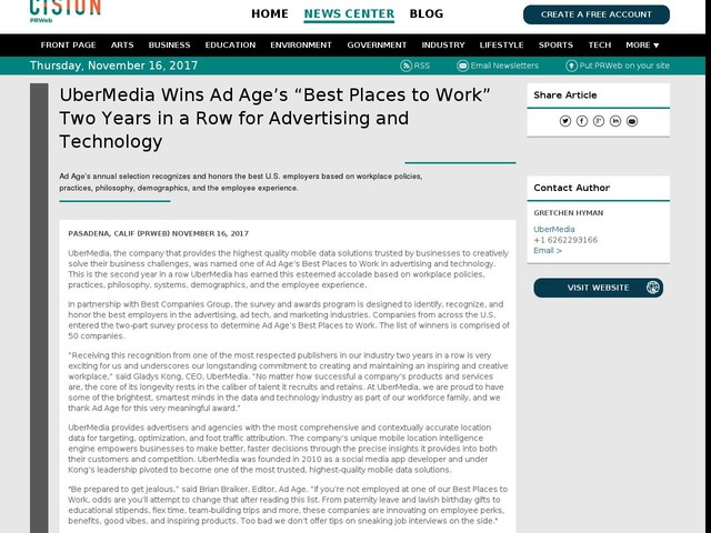 """UberMedia Wins Ad Age's """"Best Places to Work"""" Two Years in a Row for..."""