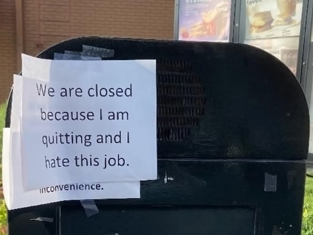 'Of course people are going to break down under these conditions': Viral photo of McDonald's worker's 'quitting' sign sparks debate