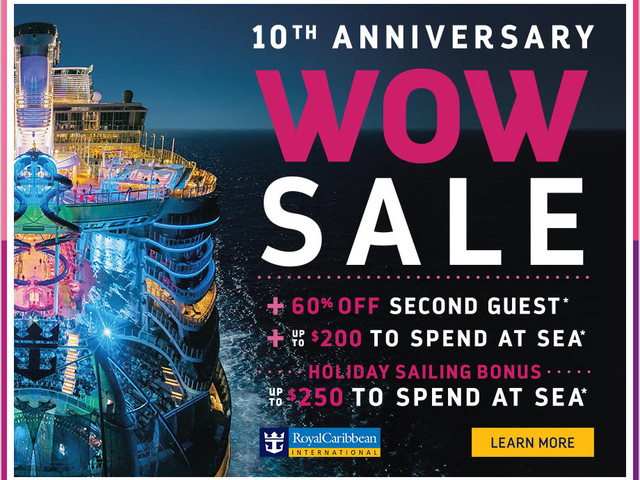 Royal Caribbean's 10th Anniversary WOW Sale offers 60% off second guest, plus reduced deposit and onboard credit