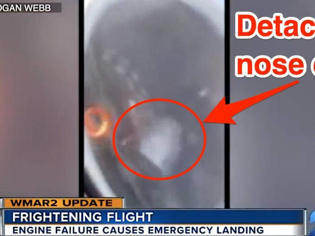 Video shows engine failure on a Delta flight which left a chunk of metal rattling around a jet turbine and forced an emergency landing