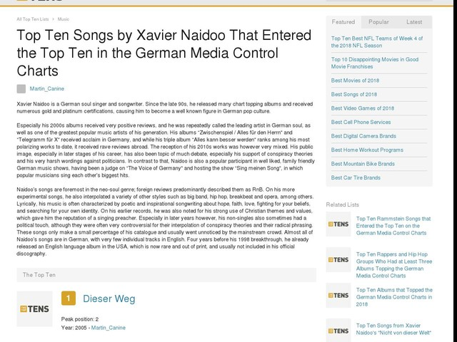 Top Ten Songs by Xavier Naidoo That Entered the Top Ten in the German Media Control Charts