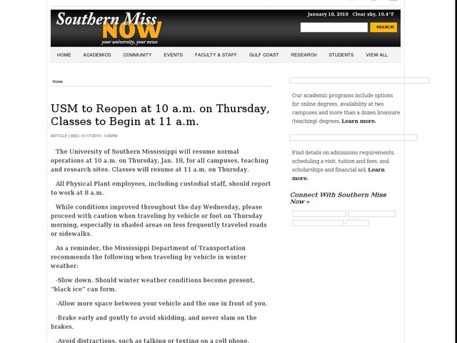USM to Reopen at 10 a.m. on Thursday, Classes to Begin at 11 a.m.