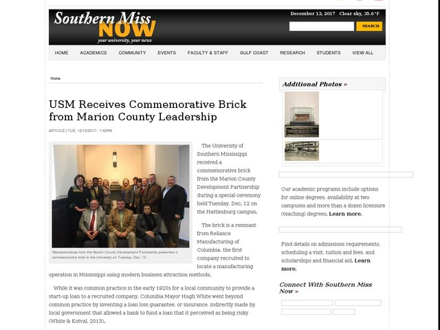 USM Receives Commemorative Brick from Marion County Leadership