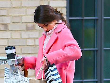 Suri Cruise, 13, Rocks Stylish Pink Coat & Looks Just Like Mom Katie Holmes While Shopping In NYC