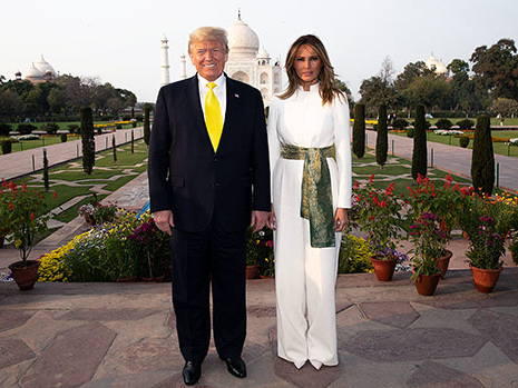 Donald & Melania Trump Awkwardly Stand Side-By-Side Without Touching At Taj Mahal
