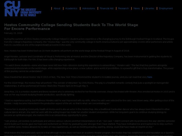 Hostos Community College sending students back to the world stage for encore performance