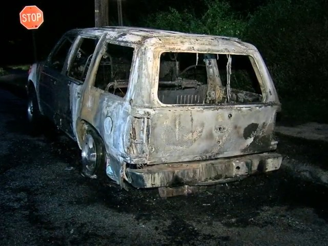 SUV goes up in flames in Norristown, Pennsylvania